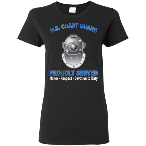 US Coast Guard Diver ND Proudly Served Ladies' T-Shirt