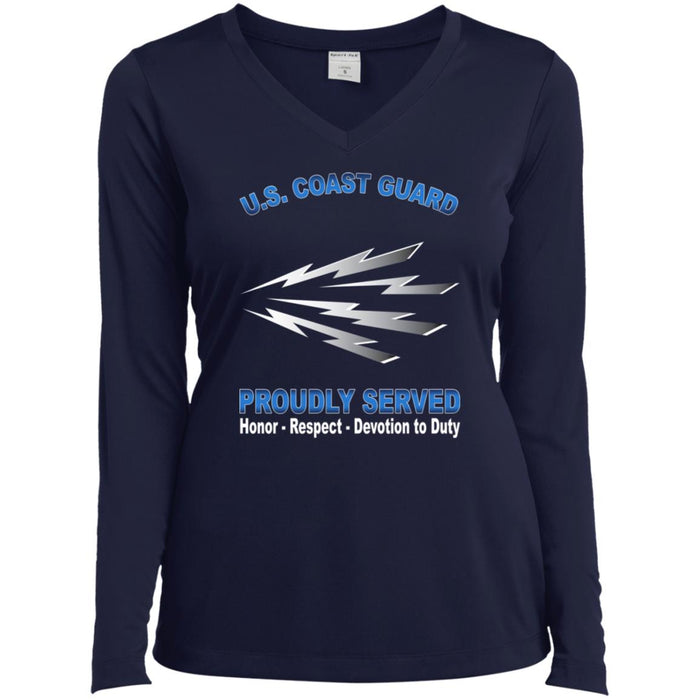 US Coast Guard Telecommunications Specialist TC Proudly Served Sport-Tek Ladies' LS Performance V-Neck T-Shirt
