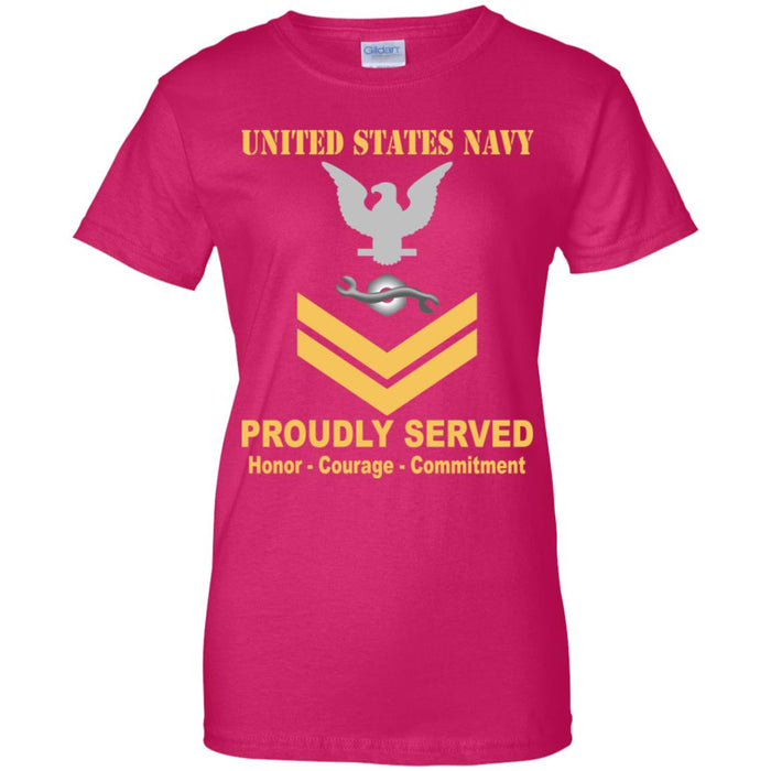 US Navy Construction Mechanic Navy CM E-5 Gold Stripe PO2 Petty Officer Second Class Ladies' T-Shirt