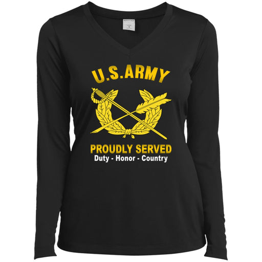 US Army Judge Advocate General's Corps Proudly Served Sport-Tek Ladies' LS Performance V-Neck T-Shirt
