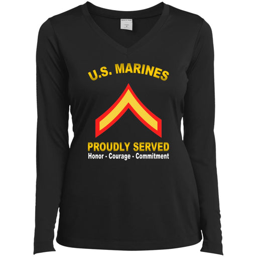 USMC E-2 Private First Class E2 PFC  Proudly Served Sport-Tek Ladies' LS Performance V-Neck T-Shirt