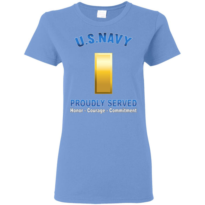 US Navy O-1 Ensign O1 ENS Junior Officer Proudly Served Ladies' T-Shirt