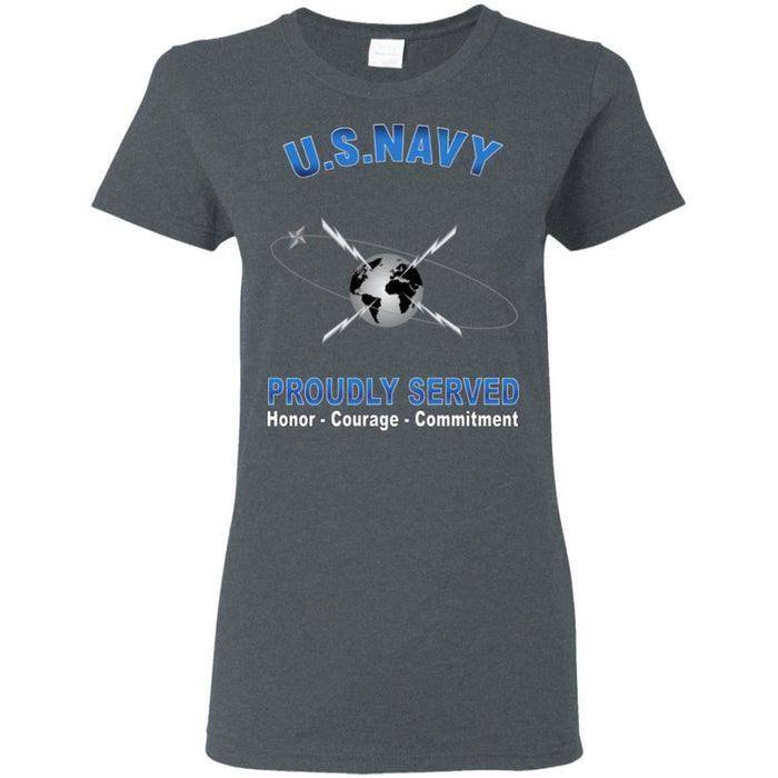 US Navy Mass Communications Specialist Navy MC Proudly Served Core Values Ladies' T-Shirt