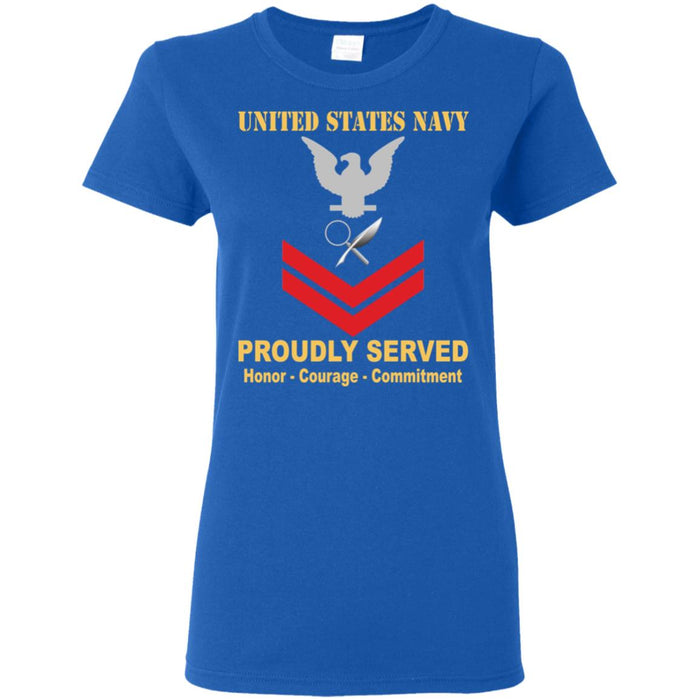US Navy Intelligence Specialist Navy IS E-5 PO2 Petty Officer Second Class Ladies' T-Shirt