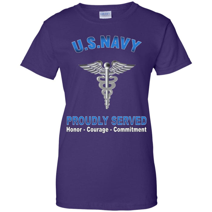 U.S Navy Hospital Corpsman Navy HM Proudly Served Core Values Ladies' T-Shirt