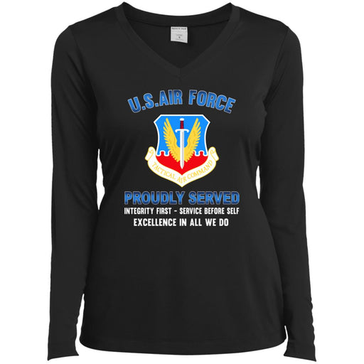 US Air Force Tactical Air Command Proudly Served Sport-Tek Ladies' LS Performance V-Neck T-Shirt
