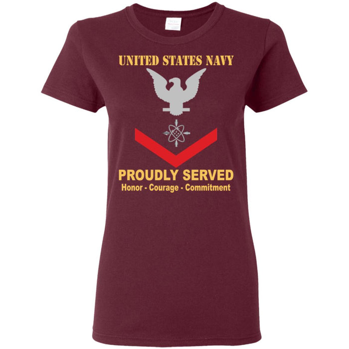 US Navy Data systems technician Navy DS E-4 PO3 Petty Officer Third Class Ladies' T-Shirt