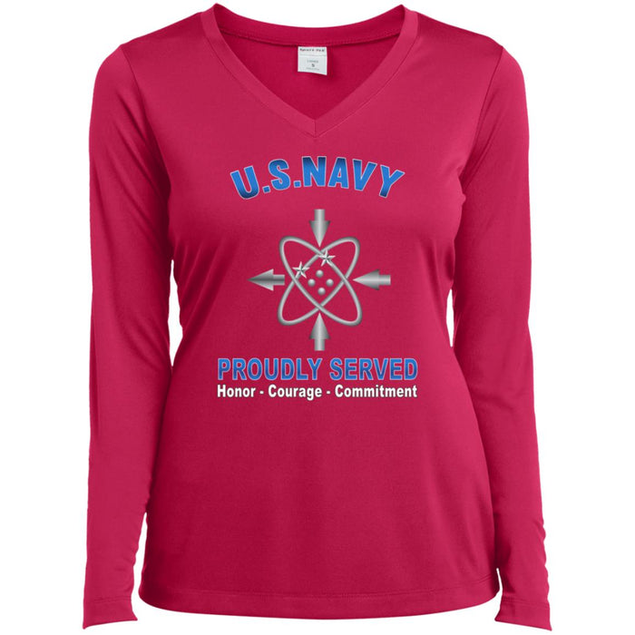 U.S Navy Data systems technician Navy DS Proudly Served Core Values Sport-Tek Ladies' LS Performance V-Neck T-Shirt