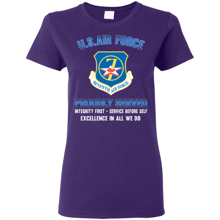 US Air Force Seventh Air Force Proudly Served Ladies' T-Shirt