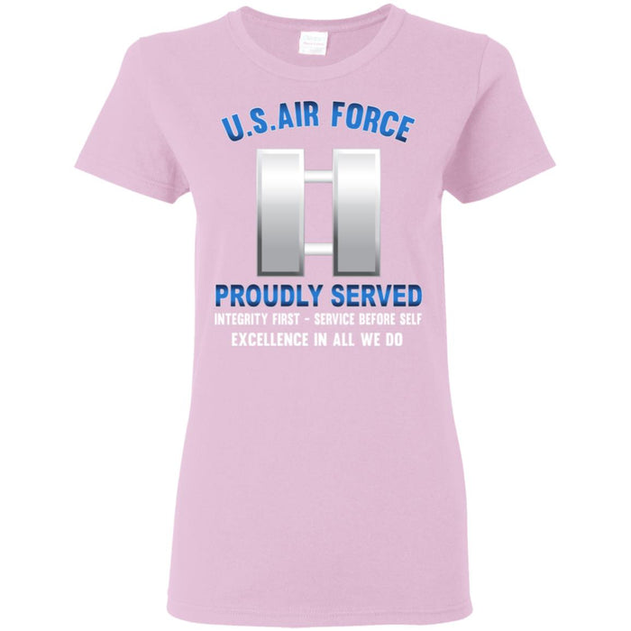 US Air Force O-3 Captain Capt O3png Proudly Served Ladies' T-Shirt