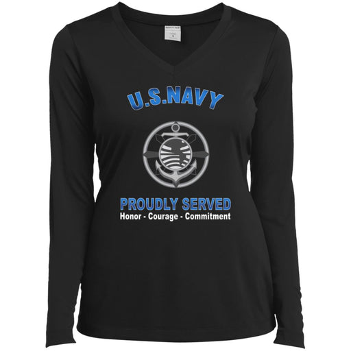 US Navy Religious Program Specialist Navy RP Proudly Served Core Values Sport-Tek Ladies' LS Performance V-Neck T-Shirt