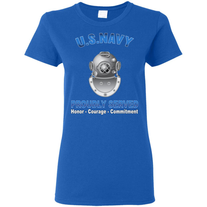 US Navy Diver Navy ND Proudly Served Core Values Ladies' T-Shirt