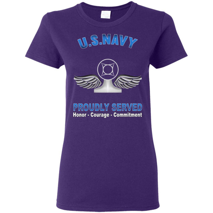 US Navy Air Traffic Controller Navy AC Proudly Served Core Values Ladies' T-Shirt