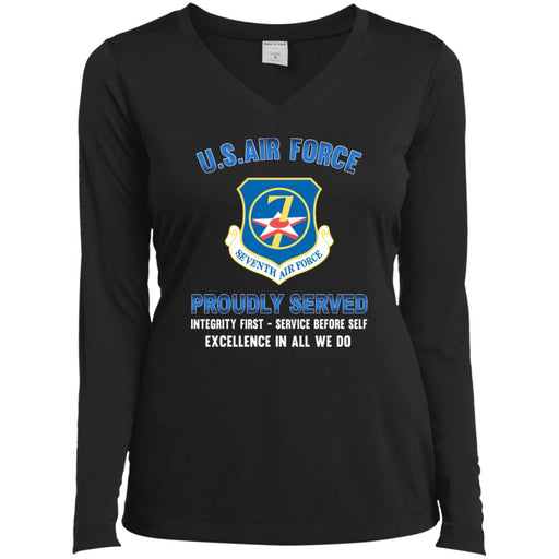 US Air Force Seventh Air Force Proudly Served Sport-Tek Ladies' LS Performance V-Neck T-Shirt