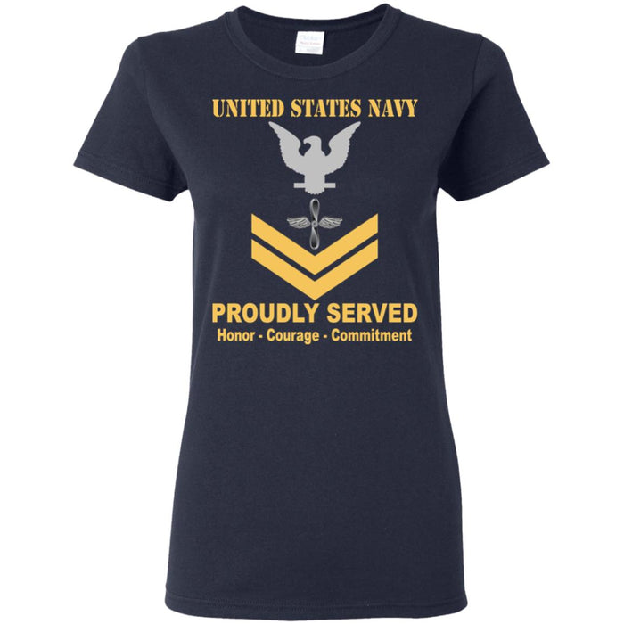US Navy Aviation machinist's mate Navy AD E-5 Gold Stripe PO2 Petty Officer Second Class Ladies' T-Shirt