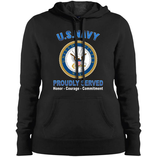 US Navy Logo Proudly Served Sport-Tek Ladies' Pullover Hooded Sweatshirt