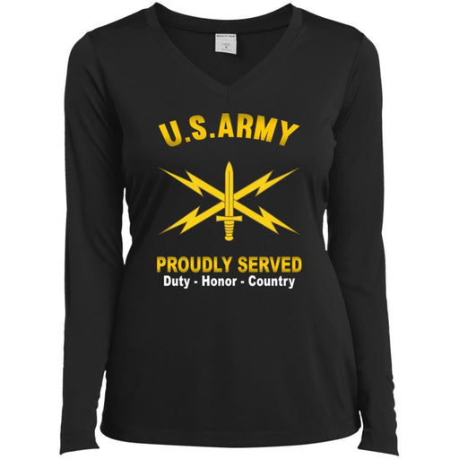 US  Army Cyber Corps Proudly Served Sport-Tek Ladies' LS Performance V-Neck T-Shirt
