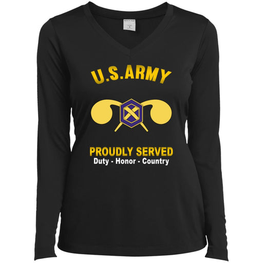 US Army Chemical Corps Proudly Served Sport-Tek Ladies' LS Performance V-Neck T-Shirt