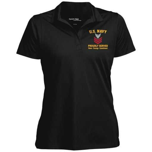 US Navy E-6 Petty Officer First Class E6 PO1 Collar Device Proudly Served Sport-Tek Women's Micropique Tag-Free Flat-Knit Collar Polo