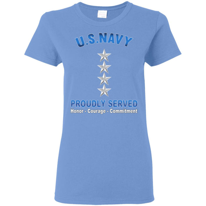 US Navy O-10 Admiral O10 ADM Flag Officer Proudly Served Ladies' T-Shirt