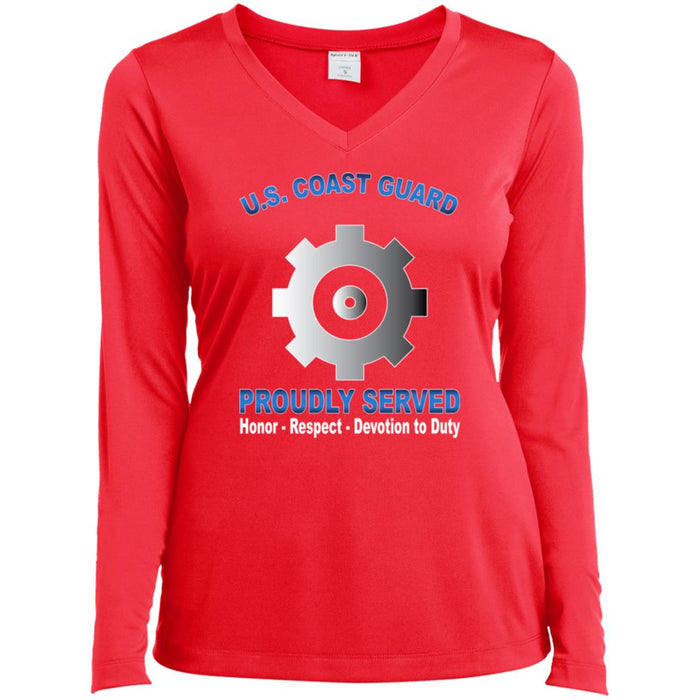 US Coast Guard Machinery Technician MK Proudly Served Sport-Tek Ladies' LS Performance V-Neck T-Shirt