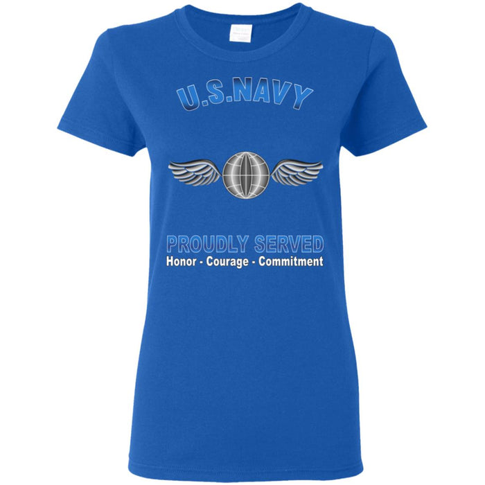 US Navy Aviation Electronics Mate Navy AE Proudly Served Core Values Ladies' T-Shirt