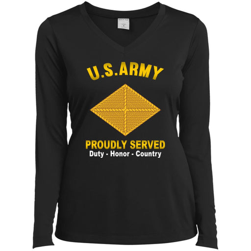 US Army Finance Corps Proudly Served Sport-Tek Ladies' LS Performance V-Neck T-Shirt