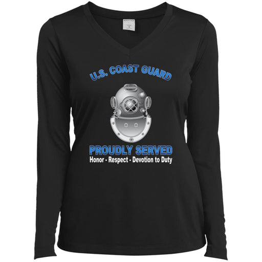 US Coast Guard Diver ND Proudly Served Sport-Tek Ladies' LS Performance V-Neck T-Shirt