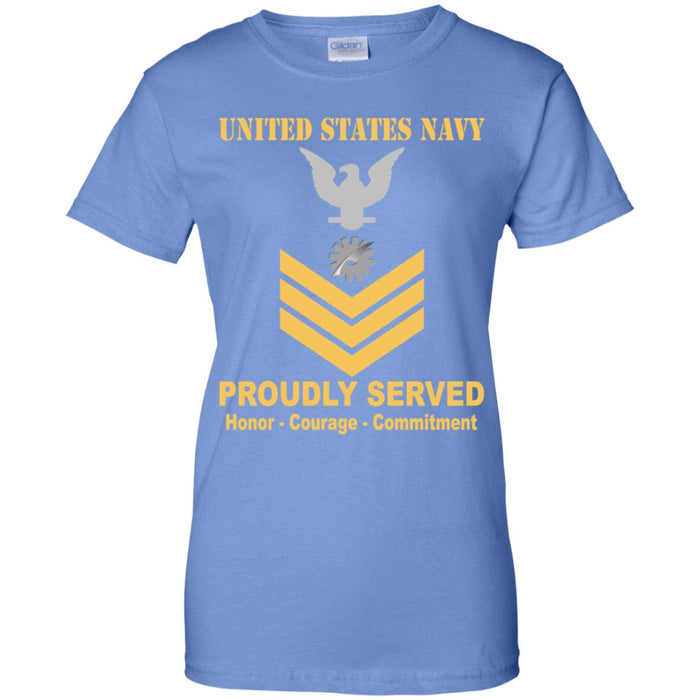 US Navy Data Processing Technician Navy DP E-6 Gold Stripe PO1 Petty Officer First Class Ladies' T-Shirt