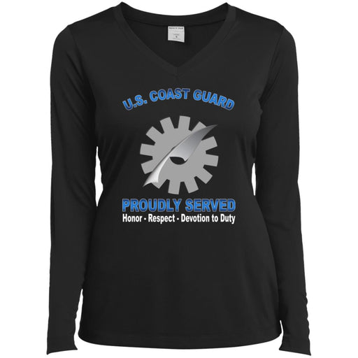 US Coast Guard Data Processing Technician DP Proudly Served Sport-Tek Ladies' LS Performance V-Neck T-Shirt