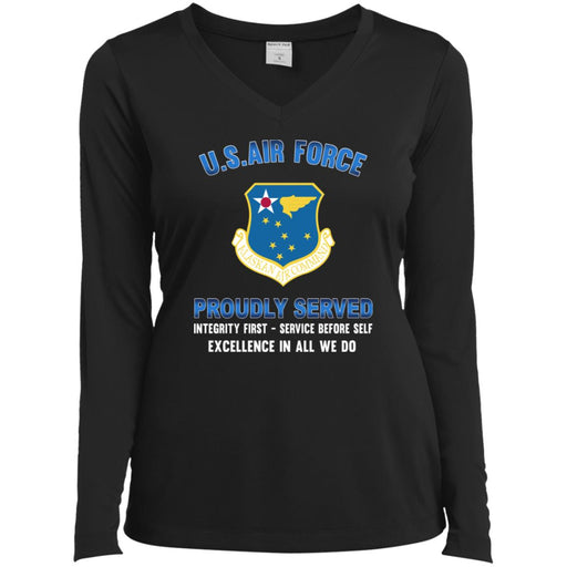 US Air Force Alaskan Air Command Proudly Served Sport-Tek Ladies' LS Performance V-Neck T-Shirt