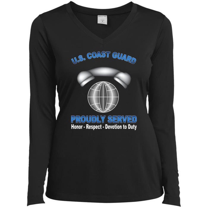 US Coast Guard Information Systems Technician IT Proudly Served Sport-Tek Ladies' LS Performance V-Neck T-Shirt