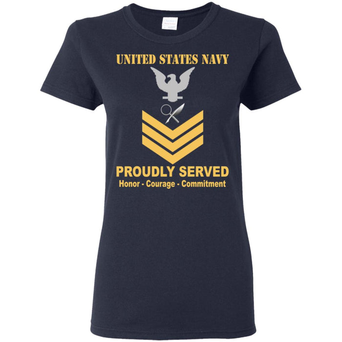 US Navy Intelligence Specialist Navy IS E-6 Gold Stripe PO1 Petty Officer First Class Ladies' T-Shirt