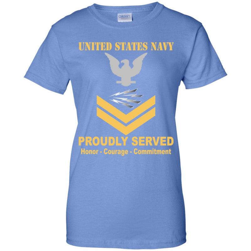 US Navy Radioman Navy RM E-5 Gold Stripe PO2 Petty Officer Second Class Ladies' T-Shirt