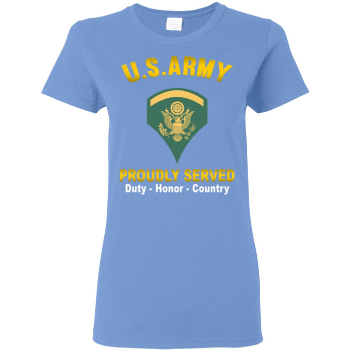 US US Army E-5 SPC E5 Specialist  Proudly Served Ladies' T-Shirt