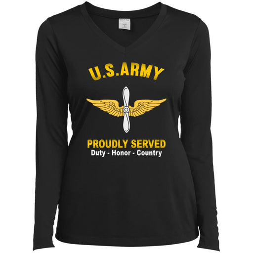US Army Aviation Proudly Served Sport-Tek Ladies' LS Performance V-Neck T-Shirt