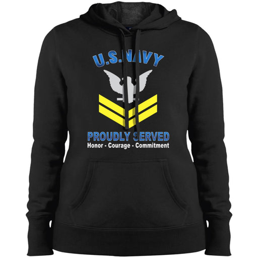 US Navy E-5 Petty Officer Second Class E5 PO2 Gold Stripe Collar Device Proudly Served Sport-Tek Ladies' Pullover Hooded Sweatshirt