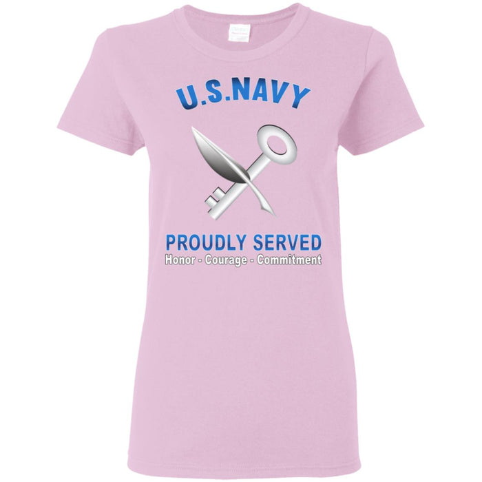 US Navy Ship's Serviceman Navy SH Proudly Served Core Values Ladies' T-Shirt