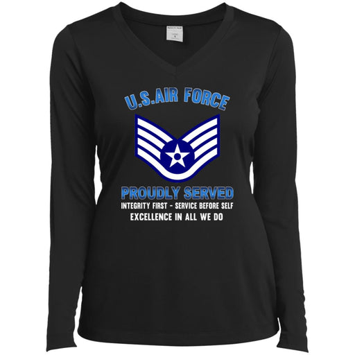 US Air Force E-5 Staff Sergeant SSgt E5 Noncommissioned Officer Proudly Served Sport-Tek Ladies' LS Performance V-Neck T-Shirt