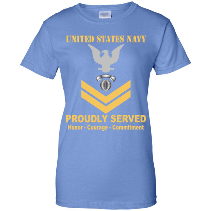 US Navy Interior Communications Electrician Navy IC E-5 Gold Stripe PO2 Petty Officer Second Class Ladies' T-Shirt