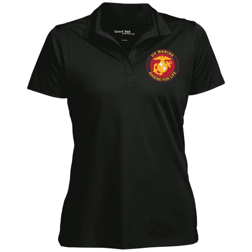 US Marine Corps, Marine For Life Sport-Tek Women's Micropique Tag-Free Flat-Knit Collar Polo