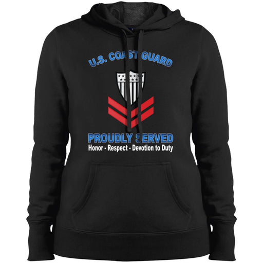 US Coast Guard E-5 Petty Officer Second Class E5 PO2 Petty Officer Collar Device Proudly Served Sport-Tek Ladies' Pullover Hooded Sweatshirt