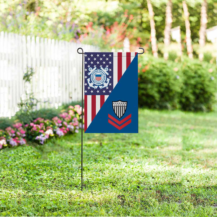US Coast Guard E-5 Petty Officer Second Class E5 PO2 Petty Officer Collar Device Garden Flag 12'' x 18'' Twin-Side Printing
