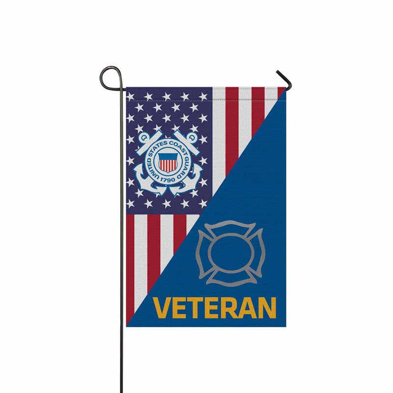 US Coast Guard Fire and Safety Specialist FF Veteran Garden Flag 12'' x 18'' Twin-Side Printing
