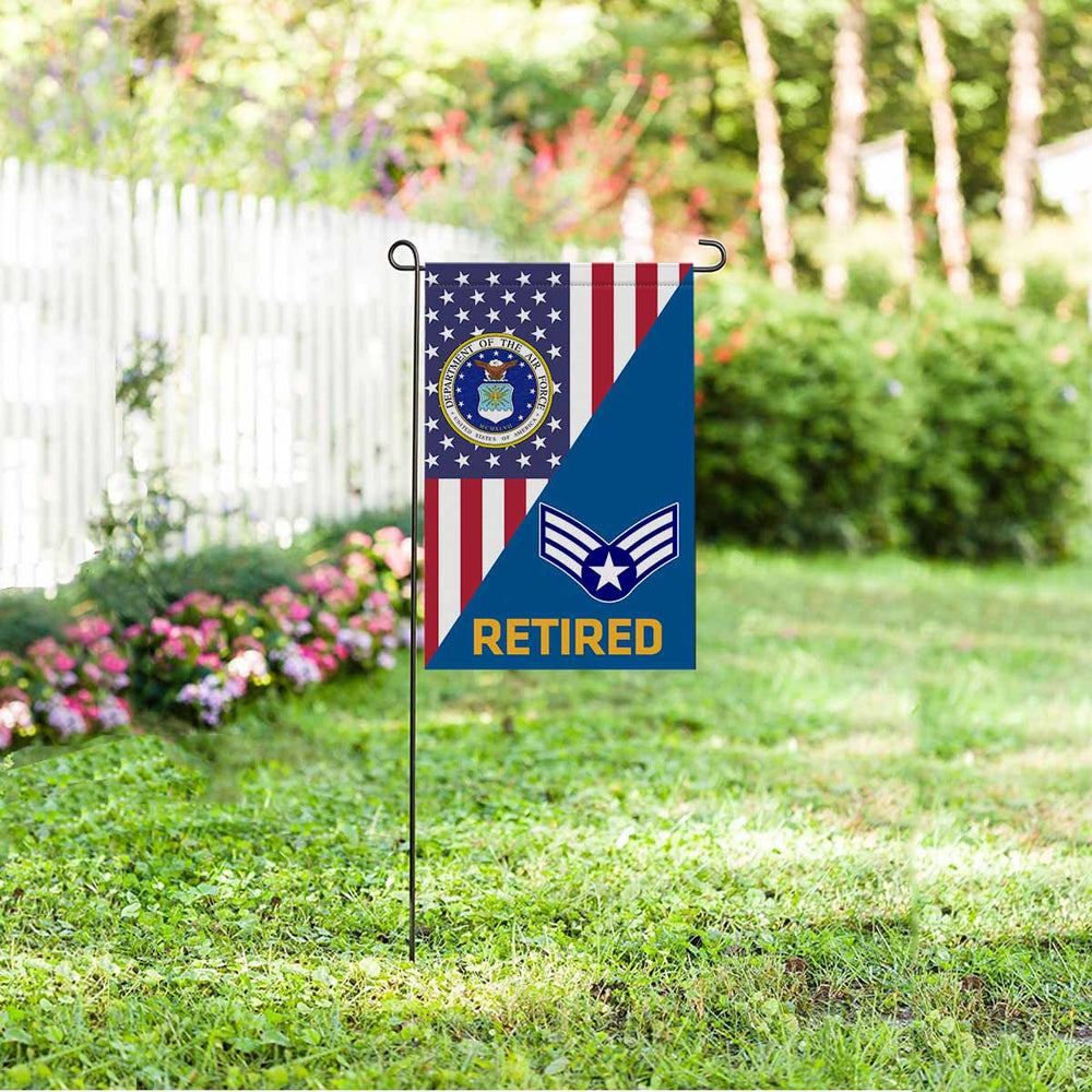 US Air Force E-4 Buck Sergeant Retired Garden Flag 12'' x 18'' Twin-Side Printing