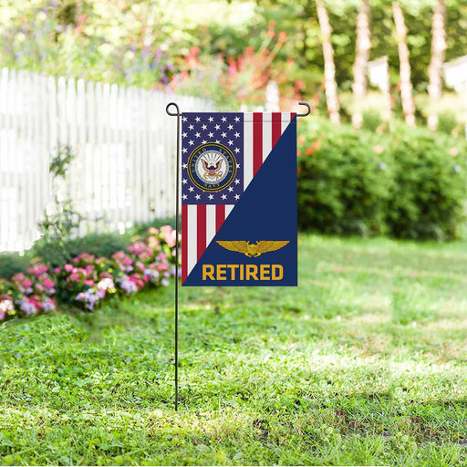 US Navy Naval Astronaut Flight Officer Retired Garden Flag 12'' x 18'' Twin-Side Printing