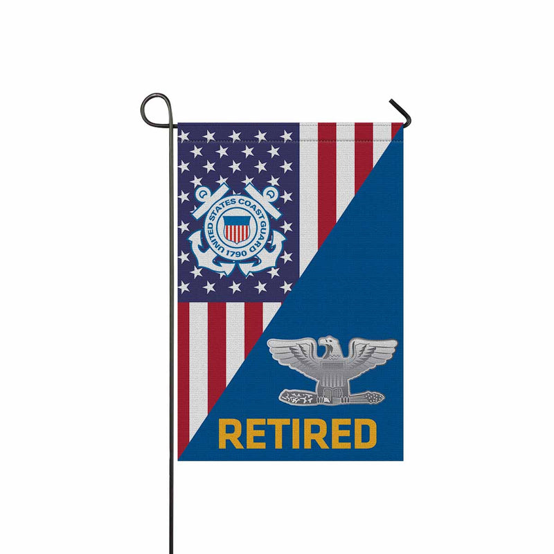 US Coast Guard O-6 Captain O6 CAPT Senior Officer Ranks Retired Garden Flag 12'' x 18'' Twin-Side Printing