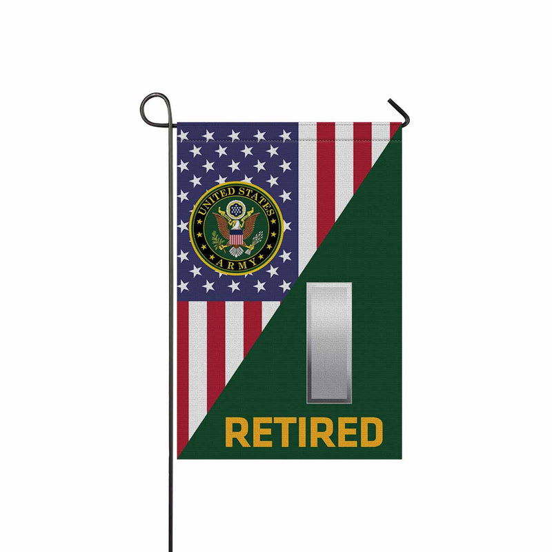 US Army O-2 First Lieutenant O2 1LT Commissioned Officer Retired Garden Flag 12'' x 18'' Twin-Side Printing