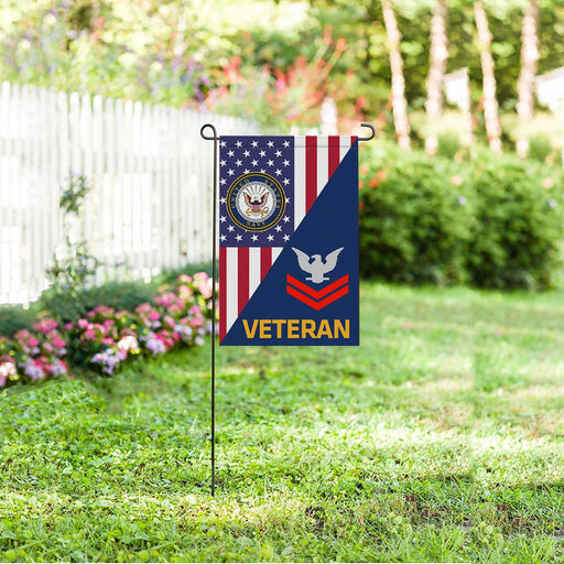 US Navy E-5 Petty Officer Second Class E5 PO2 Collar Device Veteran Garden Flag 12'' x 18'' Twin-Side Printing