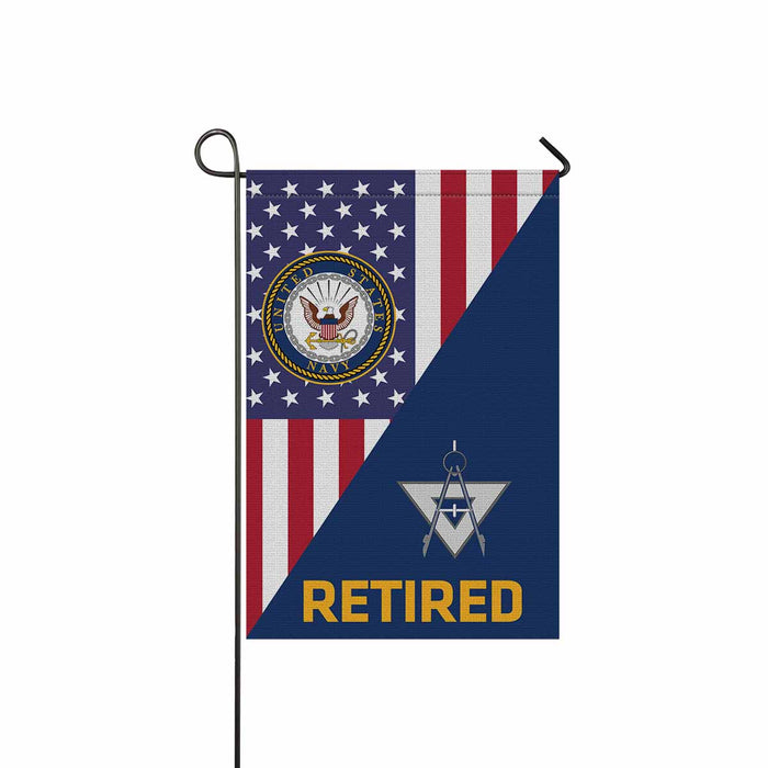 Navy Draftsman Navy DM Retired Garden Flag 12'' x 18'' Twin-Side Printing